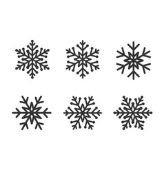snowflakes line set gray color on white vector image