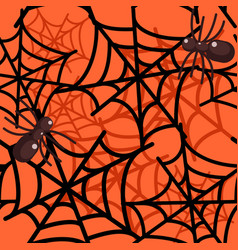 spider web seamless halloween pattern vector image