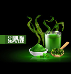 spirulina realistic composition vector image