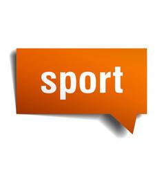 Sport orange 3d speech bubble vector