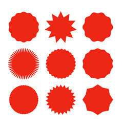 Starburst promo red sticker shape sale vector