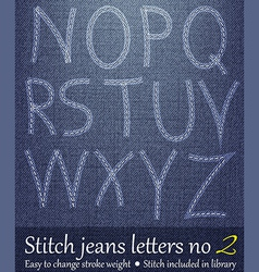 Stitched Jeans Letters 2 vector image