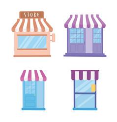 store shop front view exterior doors commercial vector image