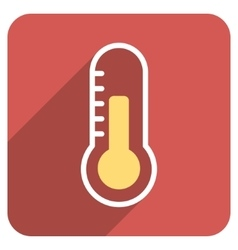 Temperature Flat Rounded Square Icon with Long vector