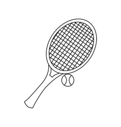 Tennis racket with tennis ball icon outline style vector image vector image