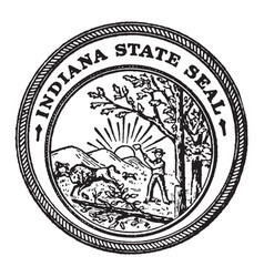 The seal of the state of indiana vintage vector