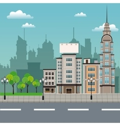 Urban building street lamp post vector
