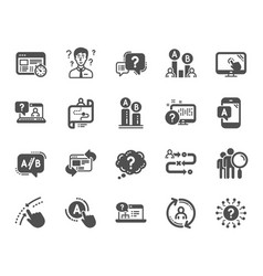Ux icons set of ab testing journey path map and vector