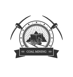 Vintage emblem of the mining industry vector