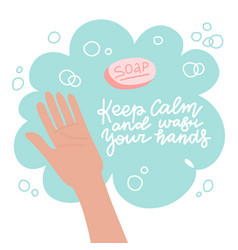 washing hand with soap method protection vector image