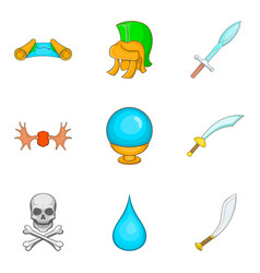 weapon icons set cartoon style vector image