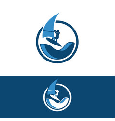 windsurfing and windsurfer on waves in circle vector image