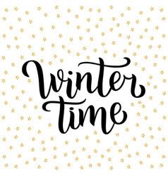 Winter time custom white lettering text on white vector