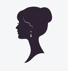woman face silhouette with stylish hairstyle vector image