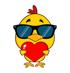 Yellow chick with sunglasses cartoon character vector