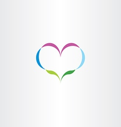 abstract nature heart plant icon logo vector image vector image