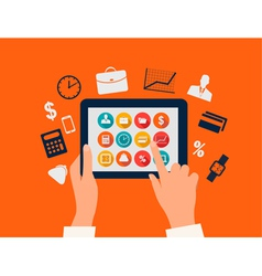 Business concept Hands touching a tablet with flat vector image vector image