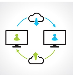cloud download compuert icons vector image vector image