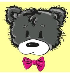 Cute cartoon teddy bear with a bow vector image vector image