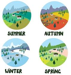 Farm rural landscape in four seasons vector image