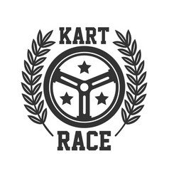kart race logotype with steering wheel isolated on vector image