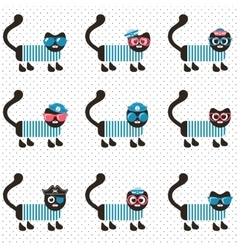 set of sailor cats vector image