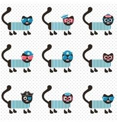 Set of sailor cats vector