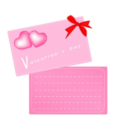 Two Pink Valentine Card with Red Ribbon vector image