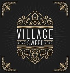 Flourish line vintage frame label logo design vector image vector image