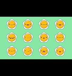 Fried egg emoji vector image