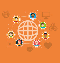 global people connection social media items vector image