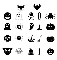 set of icons for halloween black silhouettes of vector image