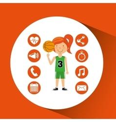 sport girl basketball athlete graphic vector image