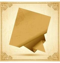 Vintage Origami Speech Bubble Background vector image