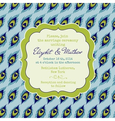 Wedding Vintage Invitation Card - Peacock Theme vector image