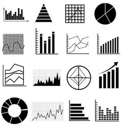 Graph chart icons set vector image vector image