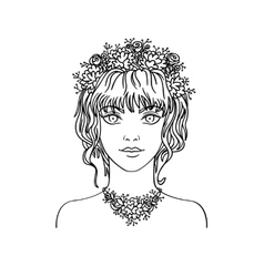 Hand drawn young girl with curly hair and flowers vector image vector image