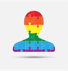 Lgbt puzzle piece silhouette man lgbt vector