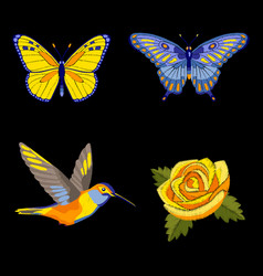 rose hummingbird and butterflies embroidery set vector image vector image
