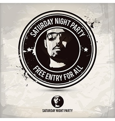 Saturday night party stamp vector image