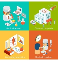 Set of medical care concepts vector image vector image