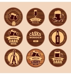 Wooden oak barrel signboards Retro circle vector image vector image