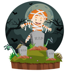 boy dresses in mummy for halloween vector image