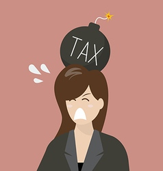 Business woman with tax bomb on her head vector image vector image