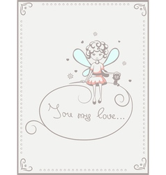 card with fairy and cat vector image vector image