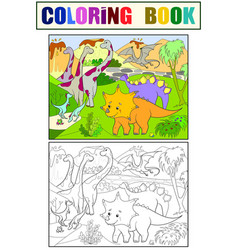 cartoon coloring for children dinosaurs in nature vector image