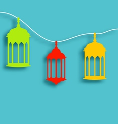 Colorful Arabic lamps with shadows for Ramadan vector image vector image