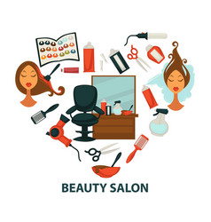 hair beauty salon hairdresser parlor heart vector image