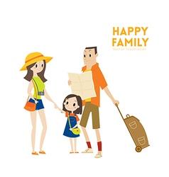Happy modern urban tourist family cartoon vector image vector image