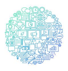 marketing line icon circle design vector image
